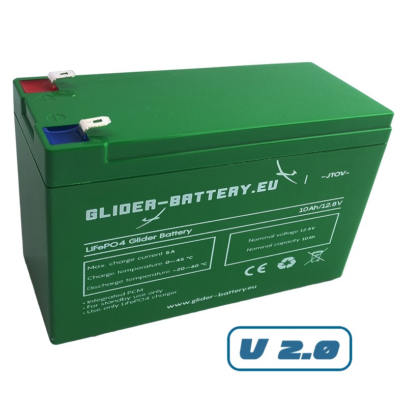 Glider Battery LiFePO4, 10AH v2.0
